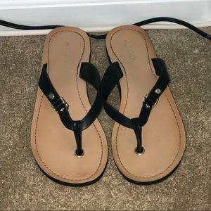 Cream and Black Flip Flops
